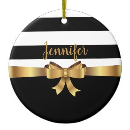 Personalized Gold Black Bold Stripes ELEGANT BOW Ceramic Ornament - elegant gifts gift ideas custom presents