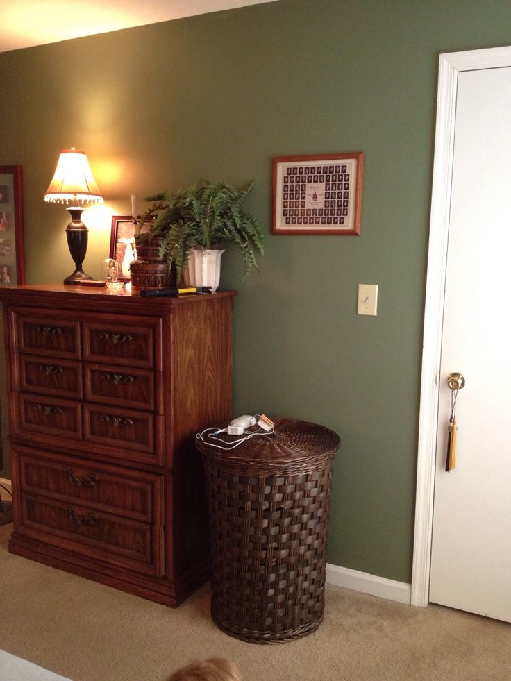 Finally painted our bedroom and I am thrilled how it turned out!  The perfect green - Farrow & Ball, Calke Green 34