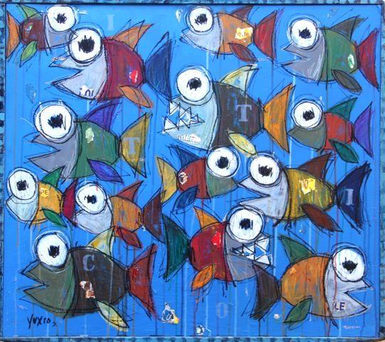 Ittico http://www.pisacanearte.it/index.php/artisti/y/yux/yux-ittico-acrilico-pastelli-a-cera-e-manifesti-su-legno-95x85-cm.html