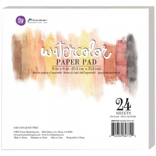 PRIMA - WATERCOLOUR PAPER PAD 6X6 - COLD PRESS - 24 STKAkvarellpapir til maling og Mixed Media teknikker fra PRIMA MARKETING.Pakken inneholder 24 ark. Måler 6x6 inch eller 15.2cmx15,2cm.Prima Marketing-Watercolor 140lb Cold Press Paper Pad. The perfect surface for any watercolorist! These high quality artist grade cold press watercolor papers are great for all your watercolor needs! Available in different sizes, these watercolor pads can be used with our watercolor pencils, aqua brushes…
