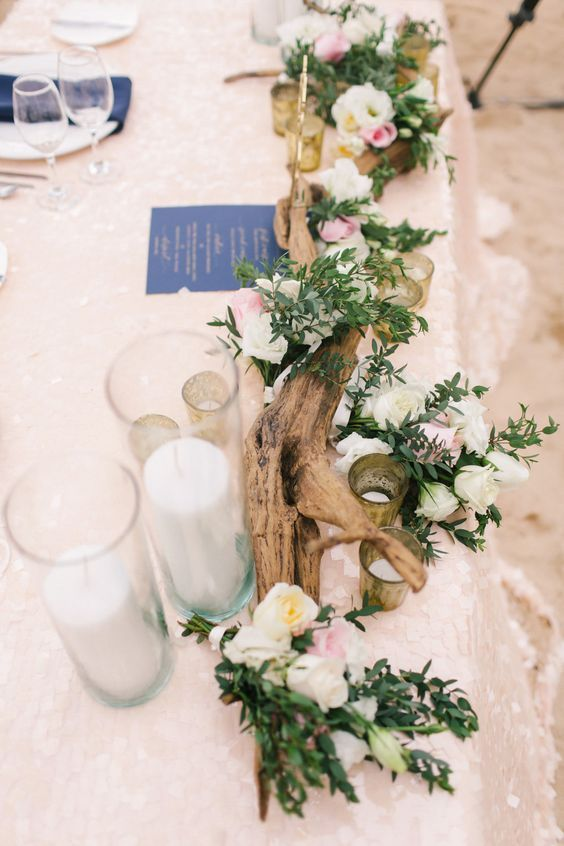rustic driftwood wedding centerpiece / http://www.deerpearlflowers.com/driftwood-wedding-decor-ideas/
