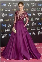 Verano estilo de la celebridad vestidos de púrpura largo vestido de fiesta de manga larga Vestido de noche formal de los vestidos de cuello alto de una línea vestidos para festa