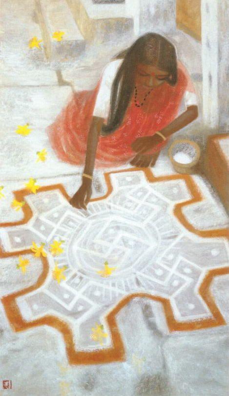 秋野不矩 「朝の祈り」(1988年)