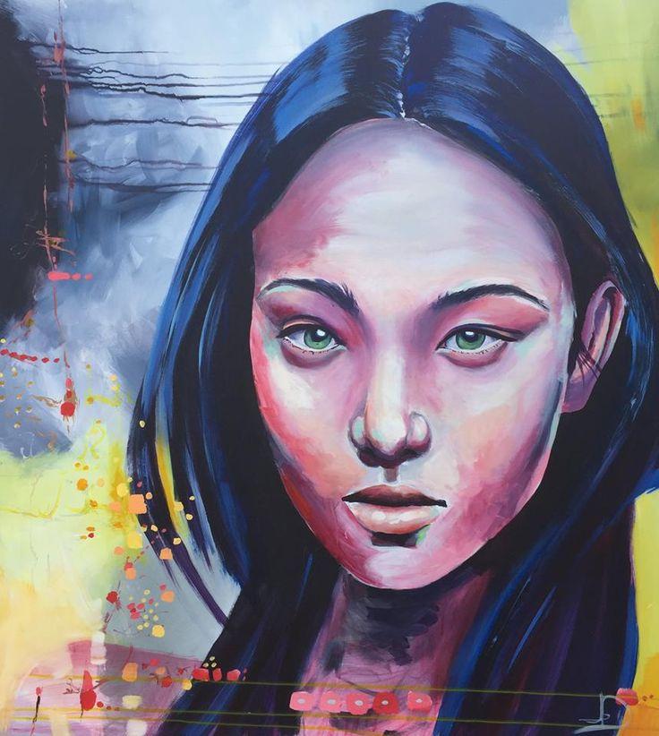 """""""Neytiri"""" 90X100 Cm. Acrylic on canvas Made by Naja Duarte"""