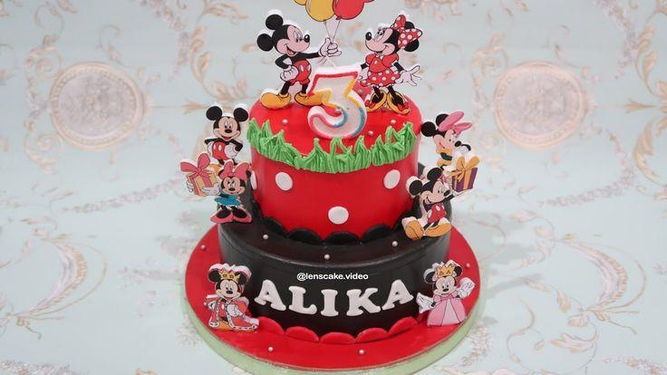 How to Make Birthday Cake Mickey Mouse 2 Layers - Cara Membuat Kue Ulang Tahun Mickey Bertingkat