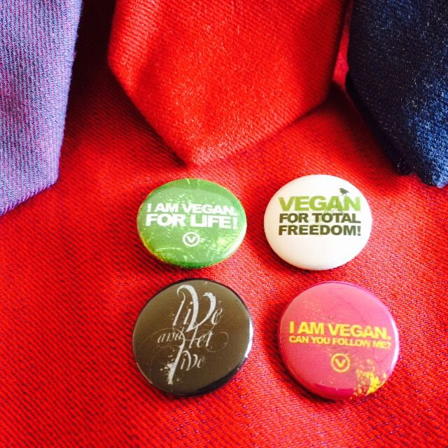 Vegan pins. We all fo vegan for animals, our health and environment.