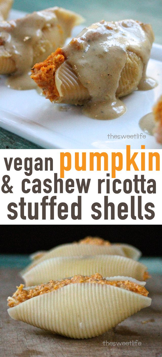 Impress all your friends with these vegan Pumpkin and Cashew Ricotta Stuffed Shells with Creamy Sage Sauce. Click the photo for the full recipe.