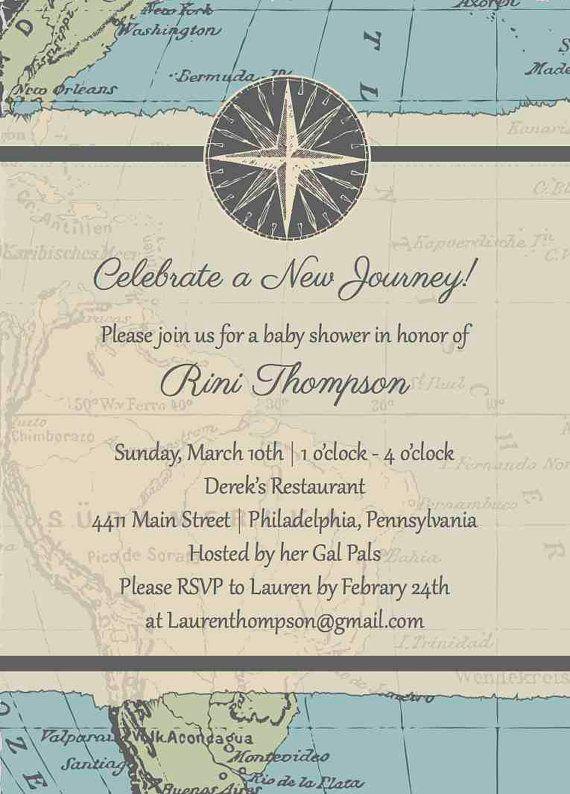 travel baby shower invitation - map