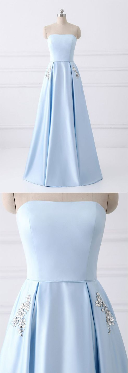 Simple A-line Strapless Long Crystal Light Blue Cheap Prom Dresses with Pocket #lightblue #cheap #prom #satin #long #okdresses