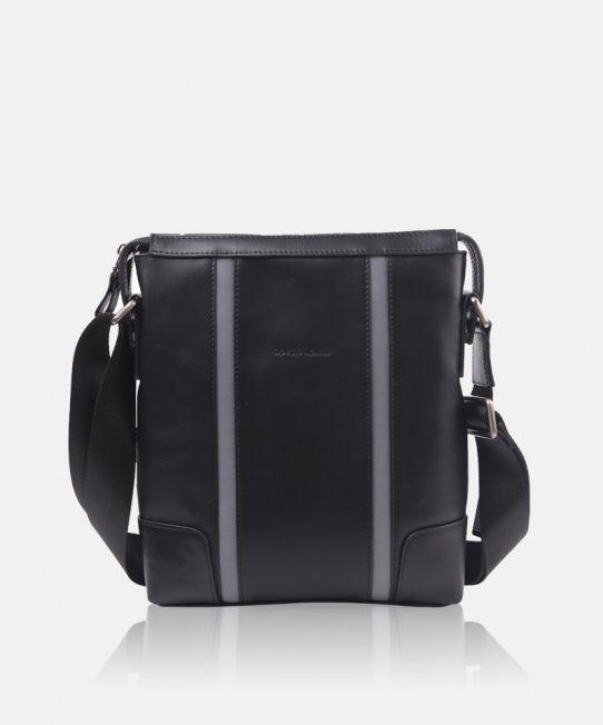 Giorgio Agnelli messenger bag for man. [Veneto 8819-1 Black] #leatherbags #genuineleather #bags #leather