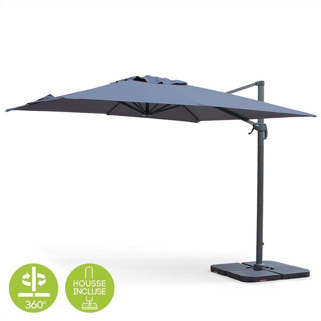 Parasol déporté carré 3x3m haut de gamme excentré inclinable rotatif à 360° Gris ALICE S GARDEN : prix, avis & notation, livraison.  Ce parasol déporté haut de gamme Falgos, de forme carrée (3x3m), est l'accessoire indispensable de votre jardin ou votre terrasse, pour parer efficacement au soleil ou aux petites averses.Il se manipule facilement grâce à sa manivelle anti-retour, sa po...