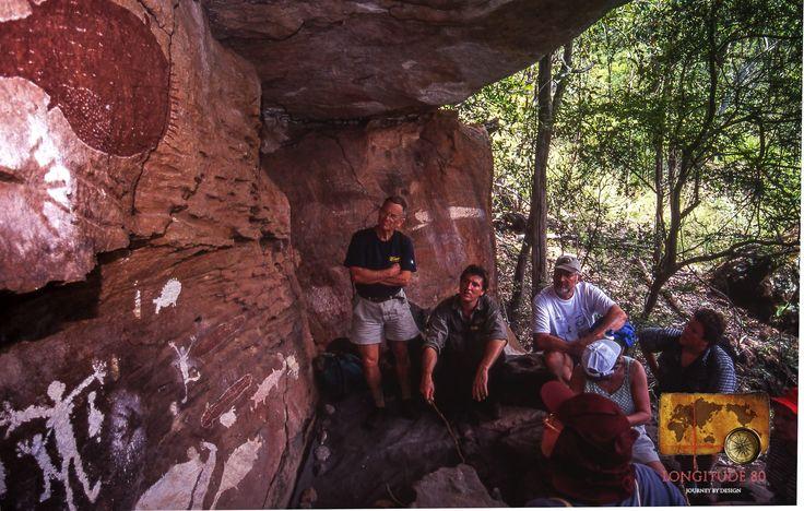 Longitude 80 travellers explore aboriginal rock art on a private trip in Cape York Peninsula