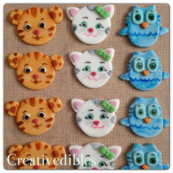 Daniel Tiger, Katrina Kitty, and O the Owl inspired cupcake Fondant toppers