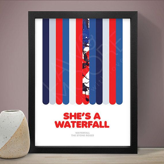 The Stone Roses  Waterfall Poster Music Poster Song by LawandMoore
