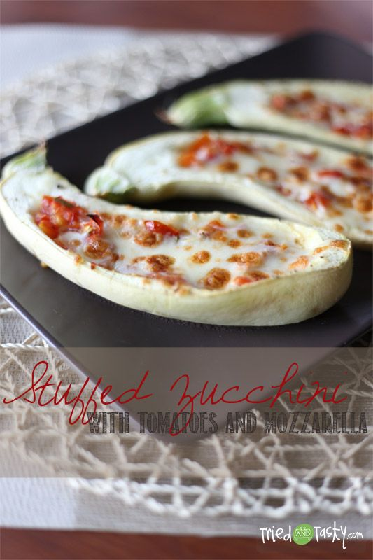 Stuffed Zucchini with Tomatoes; TriedandTasty