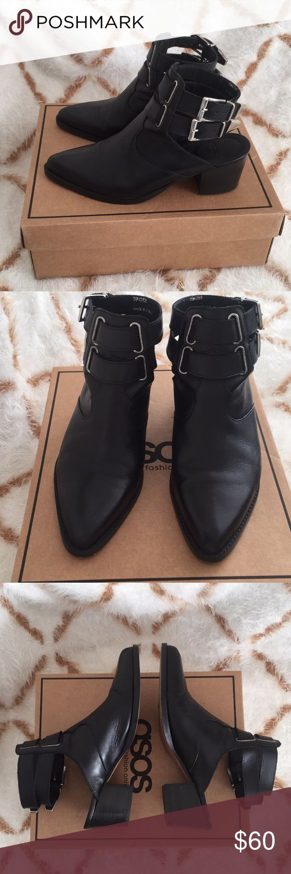 HOST PICK: ASOS Black Leather Heeled Booties Purchased these chic boots from ASOS in Nov. 2016. The sole says UK 5. I imagine these would also fit a size 37 Euro. I am a true size 7 (US).  EXCELLENT USED CONDITION: I wore them ONE time for a few hours over a year ago. Small scuff on each toe; both soles in near-perfect condition. They've been sitting in my closet untouched for over a year.  100% GENUINE leather. Dual-buckle (silver) detailing at the ankles and sexy exposed heels.  Smoke and…