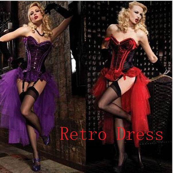 Livraison gratuite les femmes adultes Burlesque Dancer Moulin pourpre Costume de déguisement Cabaret