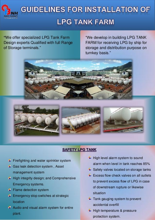 Guidelines for installation of lpg tank farm by BNH Gas Tanks via slideshare