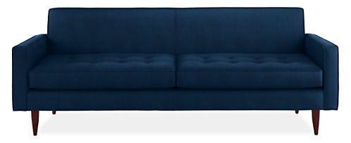Reese Custom Sofa Room & Board  85w x 34d $2200 in vineyard ink poly velvet
