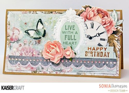 Playing with cards and 'Sage & Grace' collection [May 2017] for Kaisercraft Official Blog. 'Happy Birthday' Card by Sonia Thomason member of Kaisercraft Australia Design Team. See more at kaisercraft.com.au/blog ~ Wendy Schultz ~ Cards 1.