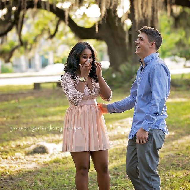 An amazing surprise marriage proposal in a New Orleans park, planned by the handsome Noah for his beautiful girlfriend Xaviera (with a professional photographer there to capture the moment) ❤ Gorgeous interracial couple #love #wmbw #bwwm #swirl #wedding #lovingday ♡ Green Tangerine Photography