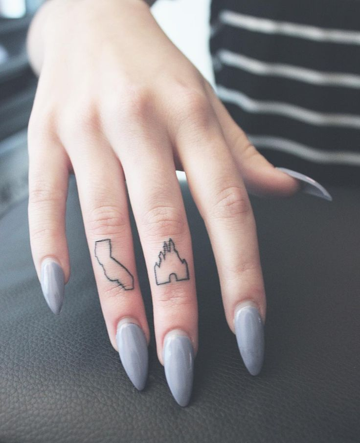 """cute little california and disney castle finger tattoos from tonight!  #JAMIETATTOOS  DM for inquiries."""