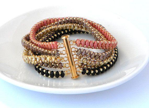 beaded bracelet in Black peach, bangle Bracelet, Beadwork friendship cuff bracelet, Beadweaving Handmade Bracelet  Jewelry, OOAK