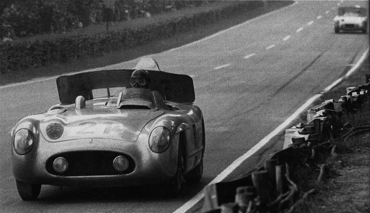 The Fangio/Moss Mercedes SLR at Le Mans 1955 with the airbrake deployed.