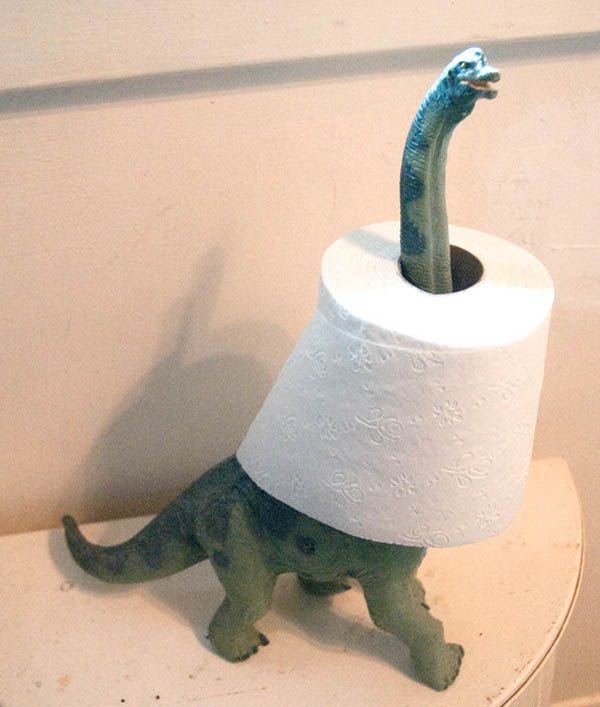 """Spare a square?"" Check out this #adorable #idea for a child's #bathroom toilet paper holder"