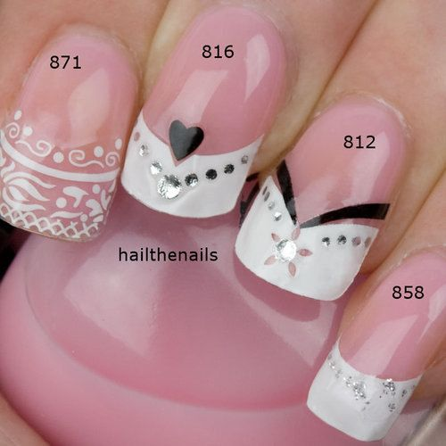 4 Sets of French Nail Art Tips Wrap Stickers Lace Hearts Bows inc Crystals 871/816/812/858. £7.99, via Etsy.