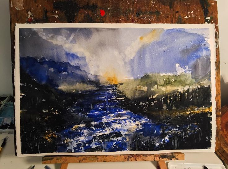 Morning scene #landscape #instaartist #waterblog #arts_help #mountain #winter #dramatic #watercolor #painting #art #artwork #instagood #artist #watercolourart #style #artoftheday #inspiring_watercolors #pretty #dream #cloudy #inspiration #inspired #watercolourpainting