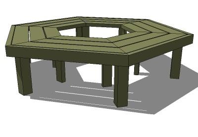 Flat hexagon tree bench av SketchUp – 3D Warehouse