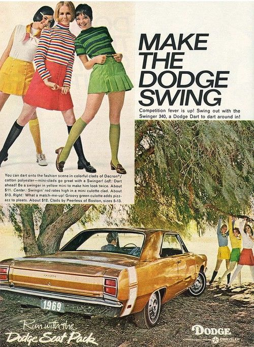 1969 make the Dodge Swing  Cars and clothes in the same ad....k-o-o-l