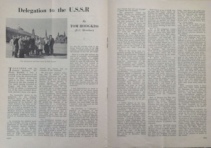 The story of 2 MU officials visit to the USSR in 1959; from The Musician, December 1959.