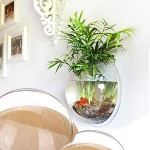 Pecera pared jardineria pinterest pecera peceras y peces agua dulce - Macetas originales para plantas ...