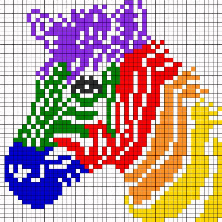 Bügelperlen Vorlage - Regenbogen Zebra