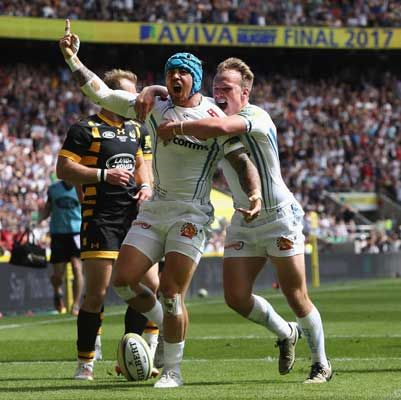 ack Nowell of Exeter Chiefs celebates victory with team mate Stuart Townsend in the Aviva Premiership final between Wasps and Exeter Chiefs