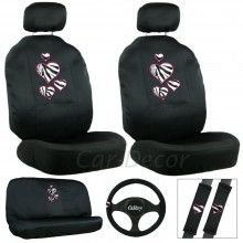 Zebra Heart Car Seat Cover Set Available At CarDecor