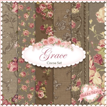 """Mary Rose Grace  6 FQ Set - Cocoa by Quilt Gate Fabrics: Mary Rose Grace is a shabby style collection from Quilt Gate Fabrics.  100% cotton.  This set contains 6 fat quarters, each measuring approximately 18"""" x 21""""."""