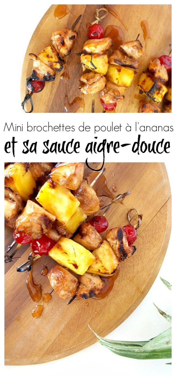 Profitez du BBQ avec ces délicieuses et toutes mignonnes mini brochettes de poulet à l'ananas aigre-douce. #pouletCa #chickendotca