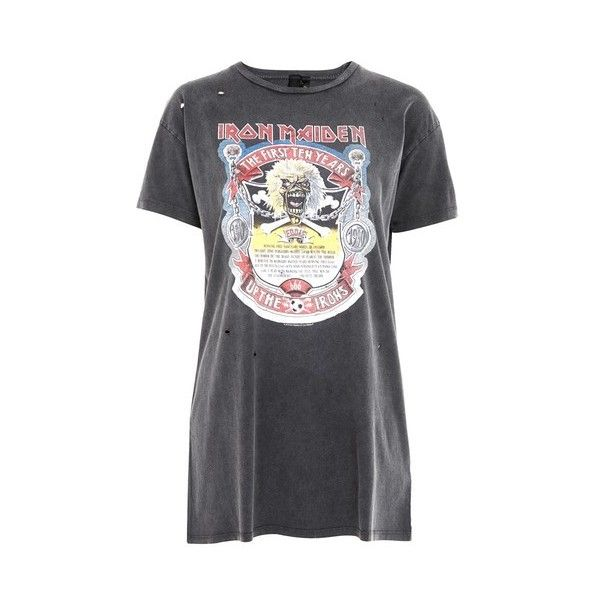 Topshop Petite Iron Maiden T-Shirt (844.415 VND) ❤ liked on Polyvore featuring tops, t-shirts, washed black, graphic design t shirts, oversized t shirt, petite tee, graphic tops and graphic tees