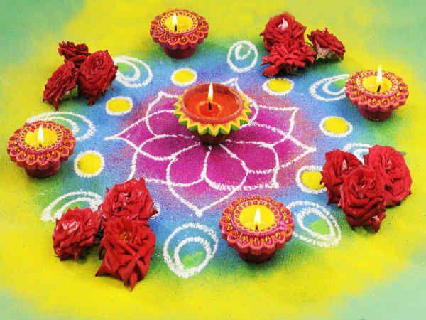 Rose in rangoli for more attractive