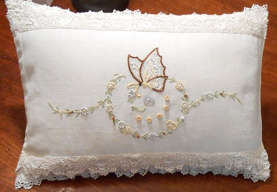 Vintage Hand Embroidered Pillow Butterfly by VintagebyVeronicaS