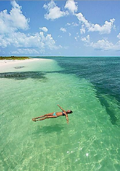 Floating in the Caribbean.