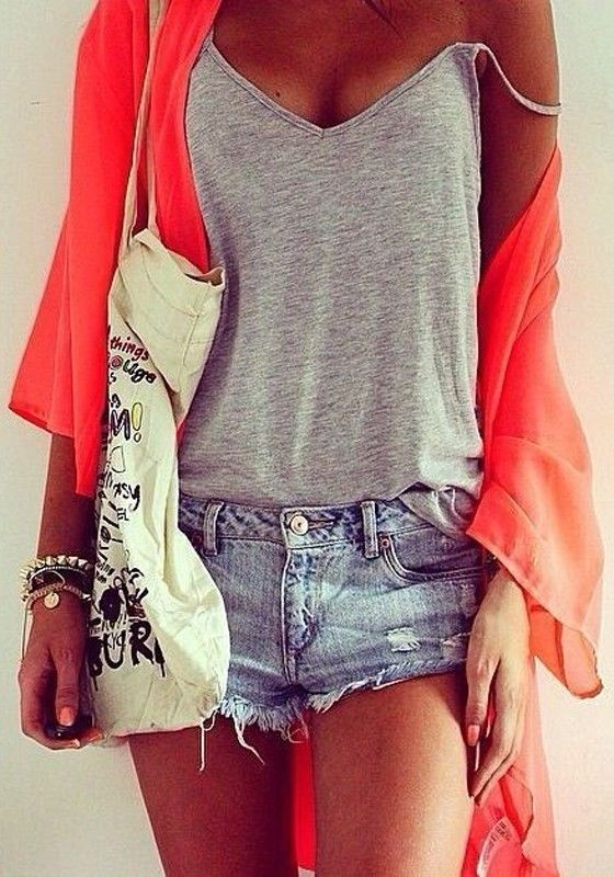 Boho Chic Style Layered Summer Fashion! Soft and Comfy Grey V-neck Sleeveless Sexy Tank Tops #Layered #Orange #Grey #Outfit #Ideas #Fashion #Snap #Accessories #Comfy #Casual #Weekend #Style
