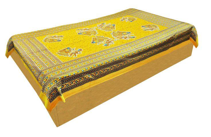 Dandiya Raas Print on Yellow Cotton Single Bedspread (Cotton)
