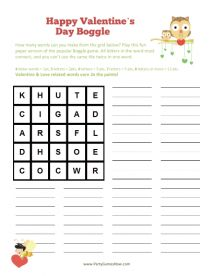 """Printable """"Valentine's Day Boggle"""" Game - Adult Valentine Games, Kids Valentine Games, Printable Valentine's Day Games"""
