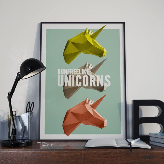 Run free like unicorns DIGITAL POSTER A3 by StudiousCrafts