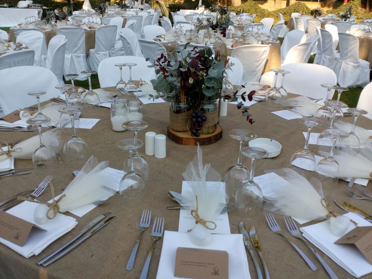 Rustic wedding guest table decorations