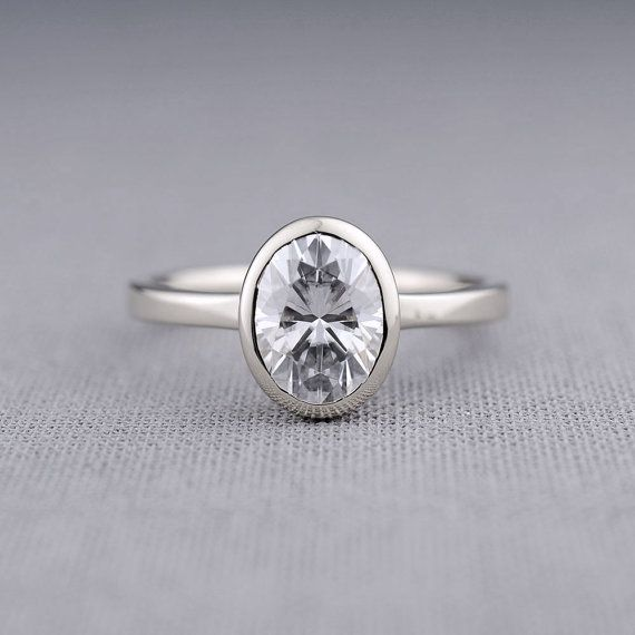 Moissanite Oval Engagement Ring Wedding Ring Set, Shadow Band Available, 14K White Gold Window Bezel Engagement Ring